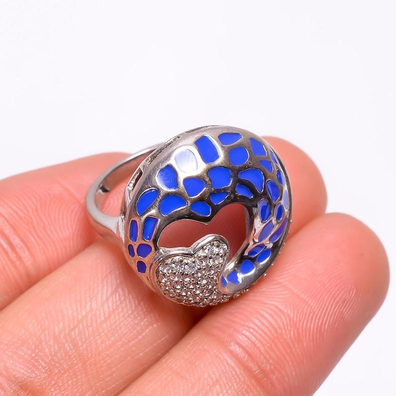 Vintage blue white Ring December birthstone ring Bohemian Ring Large boho statement natural cubic zirconia  925sterling silver ring