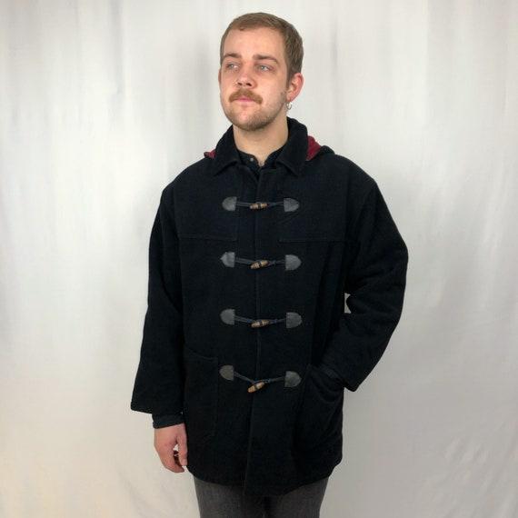 1960s Black Duffle Coat. UK Medium