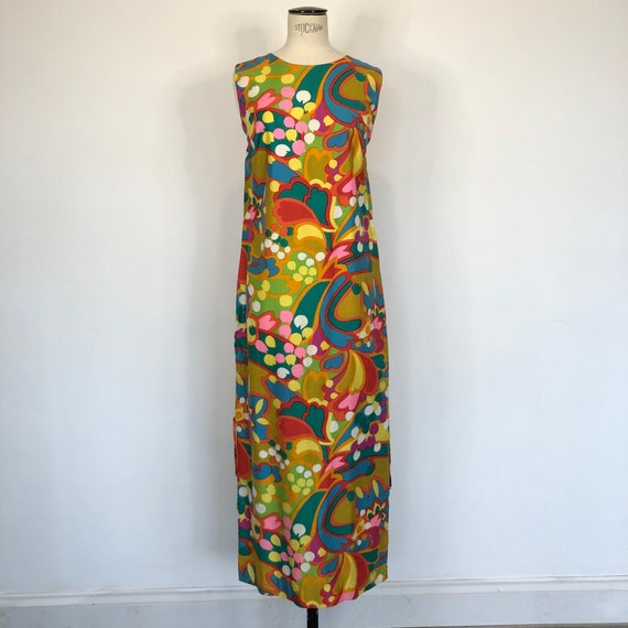 1960s Psychedelic Print Sleeveless Maxi Dress - image 2