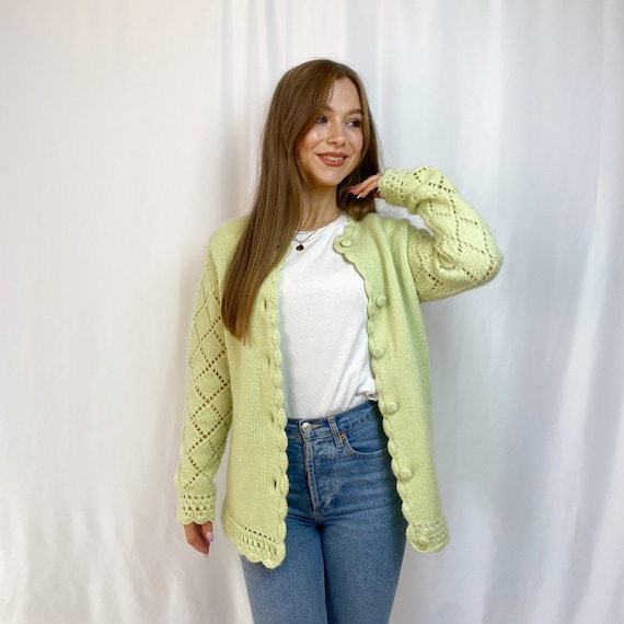 1970s 'Campus Casuals' Mint Green Chunky Knit Card