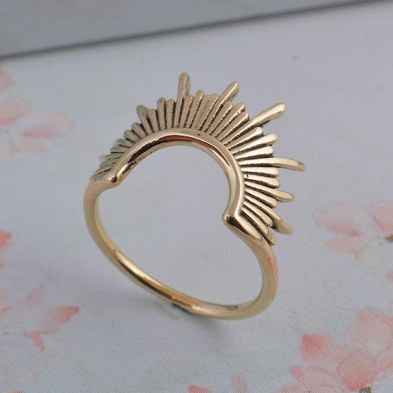 Sun Ring Rising Sun Ring Gold Dainty Ring Statement Ring Minimalist Ring,Dainty ring, Celestial Ring Trendy Ring Spike Ring