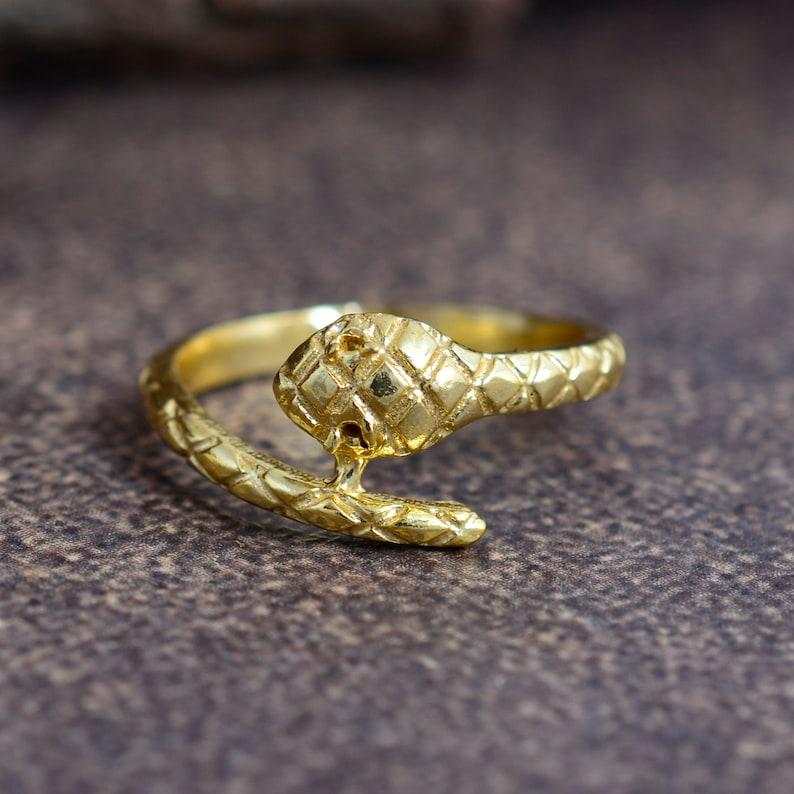 Ethnic Brass Ring Snake Brass Ring Gift for Her Finger Ring Boho Ring Animals Jewelry Snake Ring Brass Ring Tribal Ring