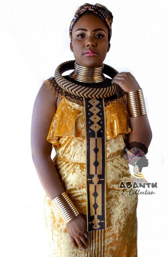 Handmade Zulu neck piece and headband set.