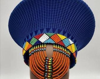 Zulu Hat With Beads| Zulu Beaded Hat| Isicholo| Bucket Hat| South African Hat| Customized Zulu Hat| Hand woven traditional zulu hats
