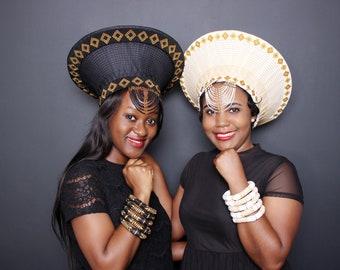 Large Zulu Hat | African Hat| Isicholo | African Bucket Hat | Zulu African Hat| Double Frame Beaded Zulu Hat