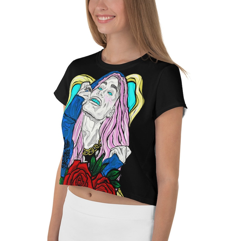 Music Babe Cute Girl KawaiiTraditional Art Women/'s  Ladies Concert  Crop Top  T-shirtDajen Flores
