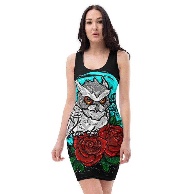 White Owl with Roses Traditional Art Style Women/'s Fitted Dress Dajen Flores