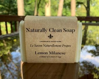 Lemon Sage Essential Oil Soap / Lemon Milanese Soap / Refreshing Classic Soap / Handmade Cold Process Soap