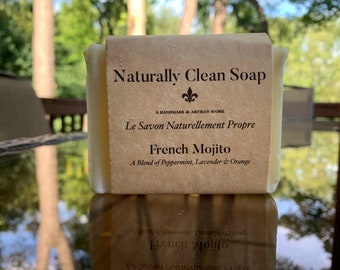 French Mojito Soap / Lavender Peppermint Orange Essential Oil Soap / Spa Smelling Relaxing Soap / Handmade Cold Process Soap