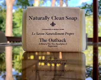 The Outback Soap / Tea Tree Eucalyptus Peppermint Essential Oil Soap / Refreshing and Clean Smelling Soap / Handmade Cold Process Soap