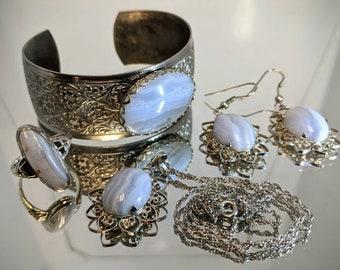 Vintage Ellensburg Blue Jewelry Set