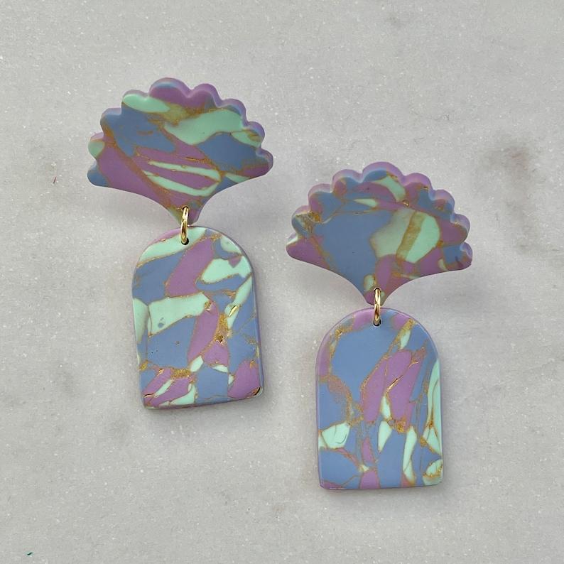 tie dye fan arch earrings