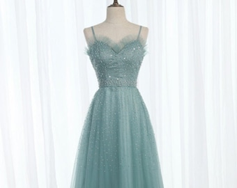 Green Tulle Sweetheart Long Beaded Prom Dress, Evening Dress, Party Dresses