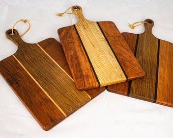 Classic Wood Cutting Board with Handle, Wood Serving Board, Paddle Board