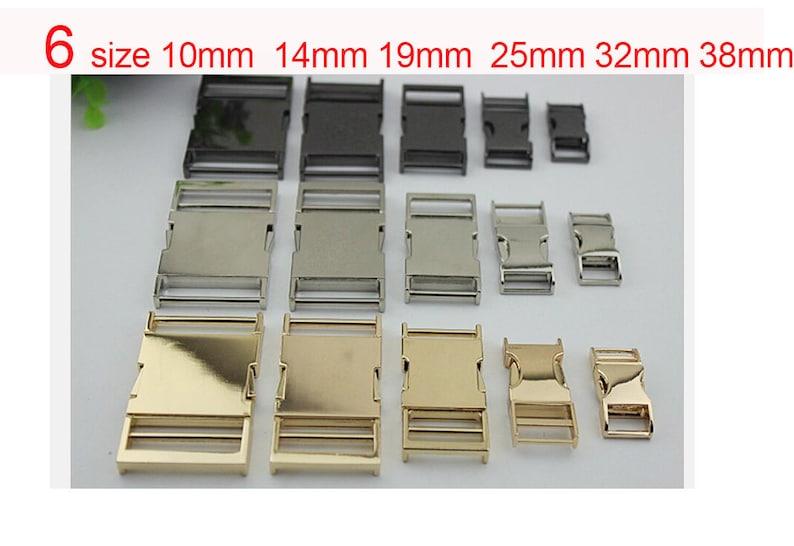 10pcs 38\u201d,916\u201d,34\u201d,1\u201d,1 14\u201d,1 12\u201d metal backpack belt side  release buckle lock in gold silver gunmetal wholesale supplier RB-001