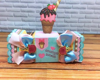 Ice Cream Theme Candy Party Favor Box. Ice Cream theme Treat Boxes. Ice Cream Party decor and gift boxes. Goodie Bag, Ice Cream social.