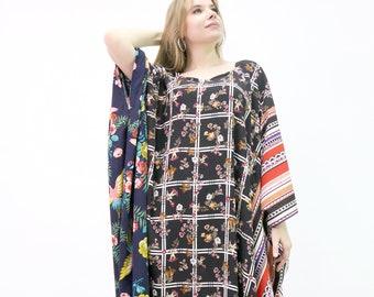 Kaftan, Designer Handmade Patchwork Colorful Floral Caftan, Cotton Kimono Long Caftan Womens, Kaftan Resort Wear Beach Coverup, Abaya Boho