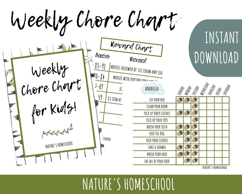 Weekly Chore Chart for Kids of ALL Ages image 0