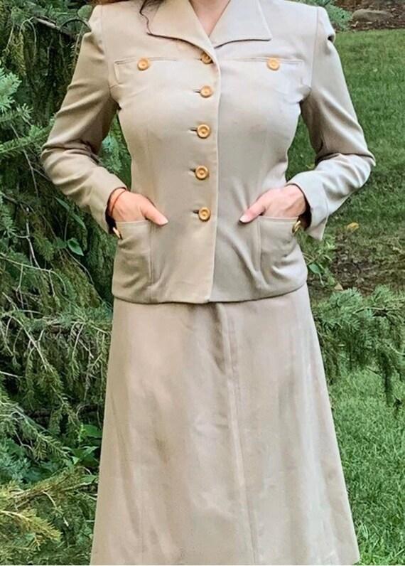 1940s Beige Suit with Unique Buttons