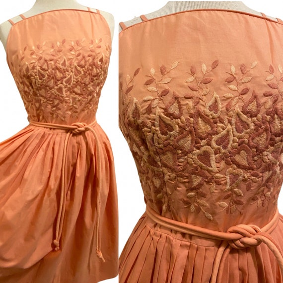 1950s Heart Embroidered Dress with Tie Belt
