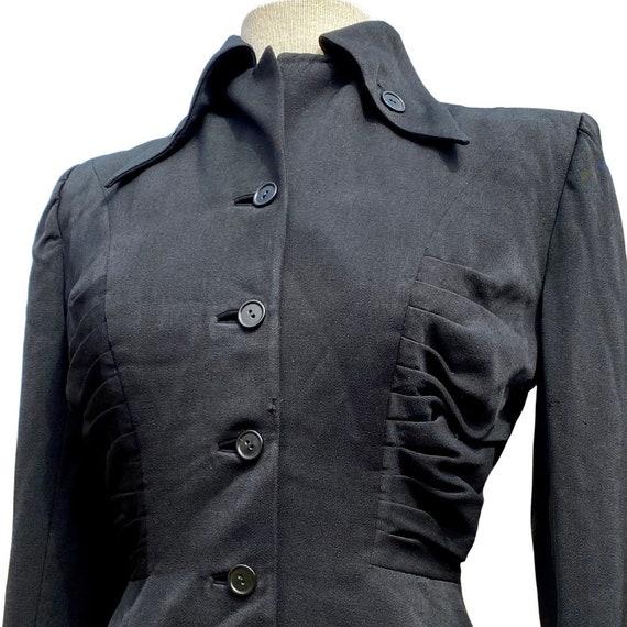 1940s Black Lilli Ann Ruched Blazer - image 4