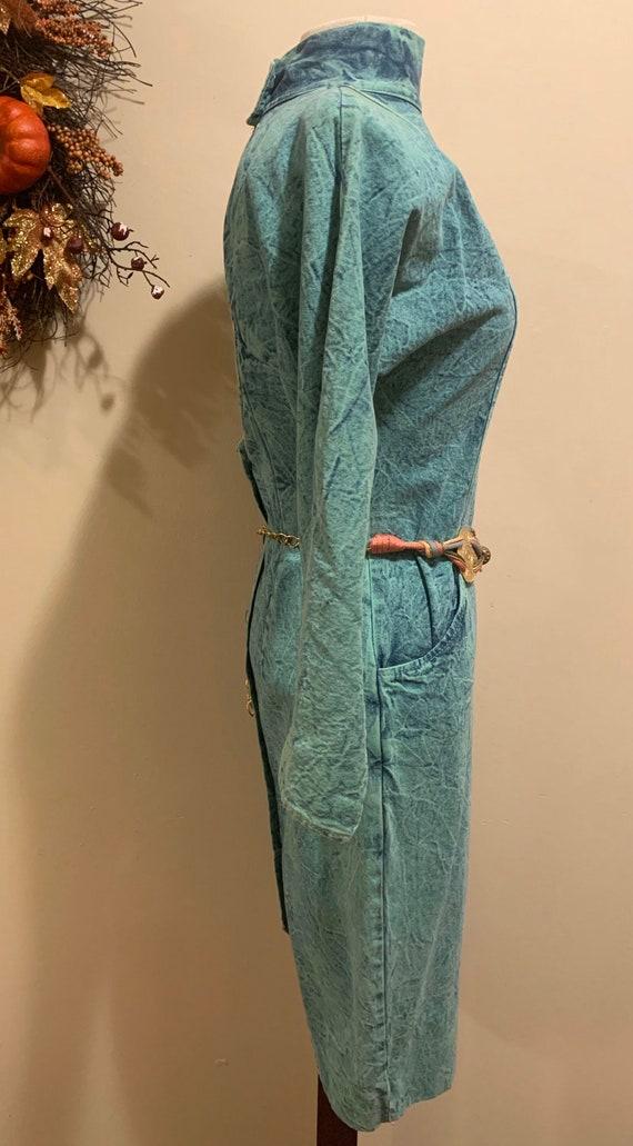 1980s Acid Wash Button-back Dress - image 2