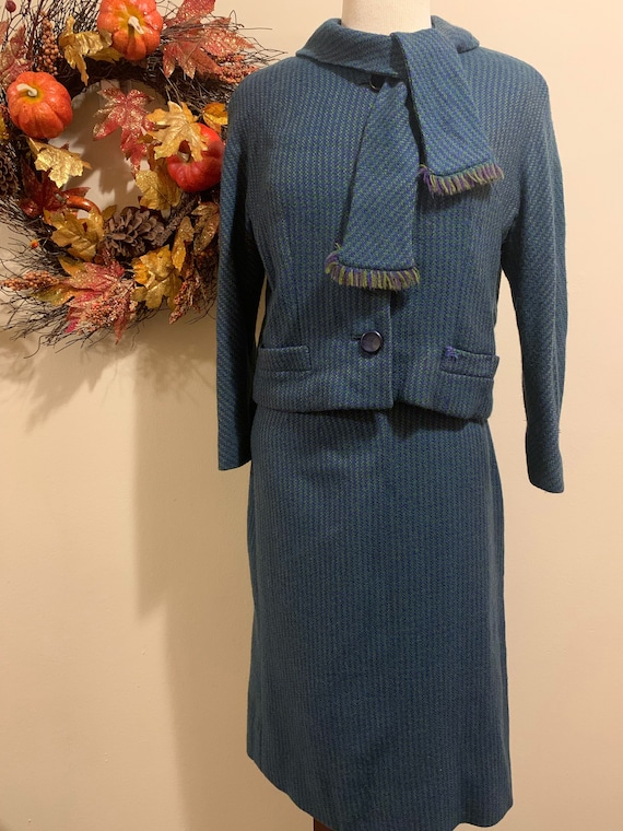 1960s Tweed Scarf Blazer & Skirt Set