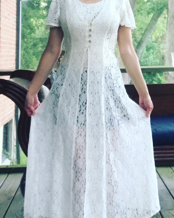 Fredericks of Hollywood Sheer Lace Dress with Ties