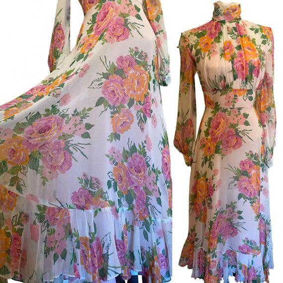 1970s Floral Mock Neck Maxi with Ruffle Hem