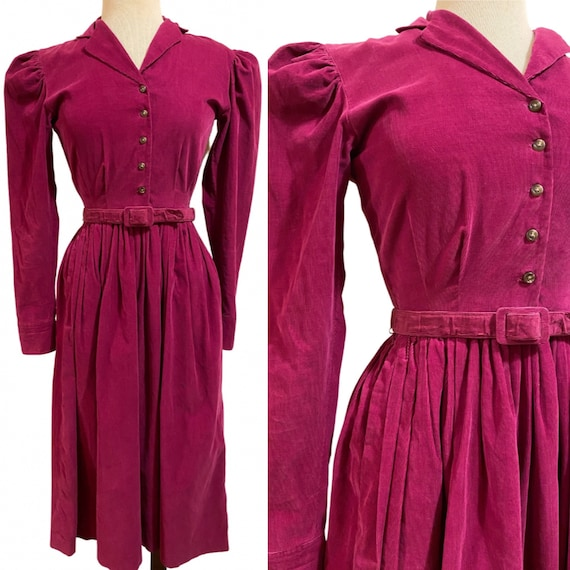 1980s does 40s Magenta Corduroy Dress with Matchin