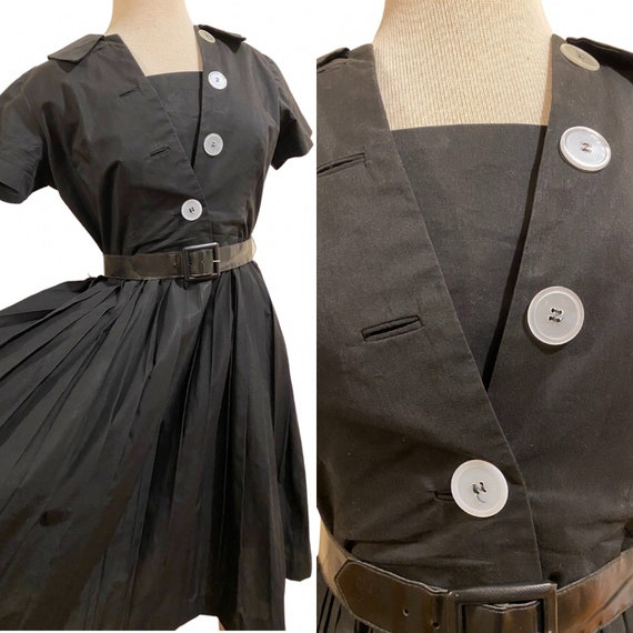 1950s Button Detail Pleated Black Dress with Belt