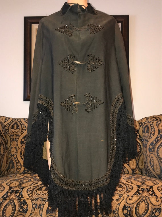 Authentic Victorian Beaded Cape with Toggles