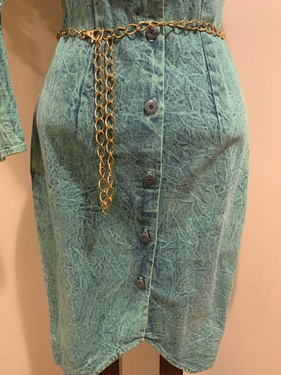 1980s Acid Wash Button-back Dress - image 10