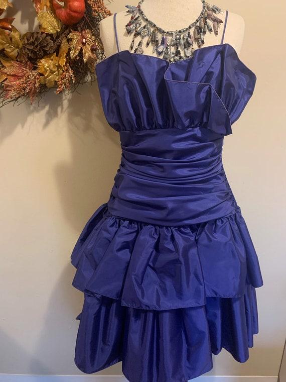 1980s Purple Ruffle Party Dress