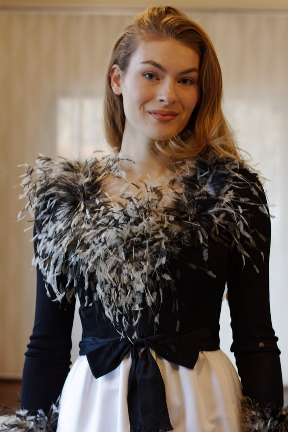 PRICE REDUCED Mollie Parnis Ostrich Feather and Bo