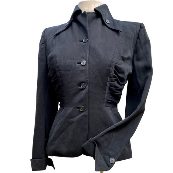 1940s Black Lilli Ann Ruched Blazer - image 1