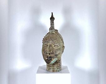 Yorubaland West Africa Benin and Nigeria Authentic 19th C African Yoruba Brass Female figure 19th C