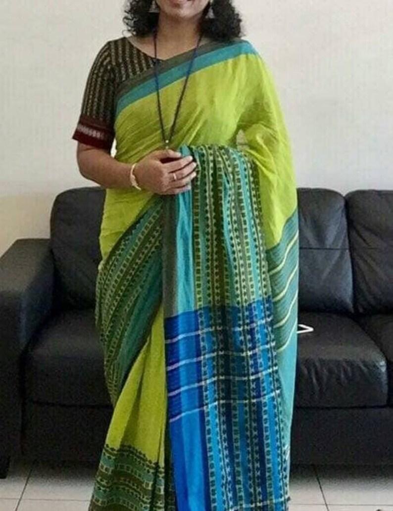 Begampuri pure khadi cotton saree with blouse piece handloom sari