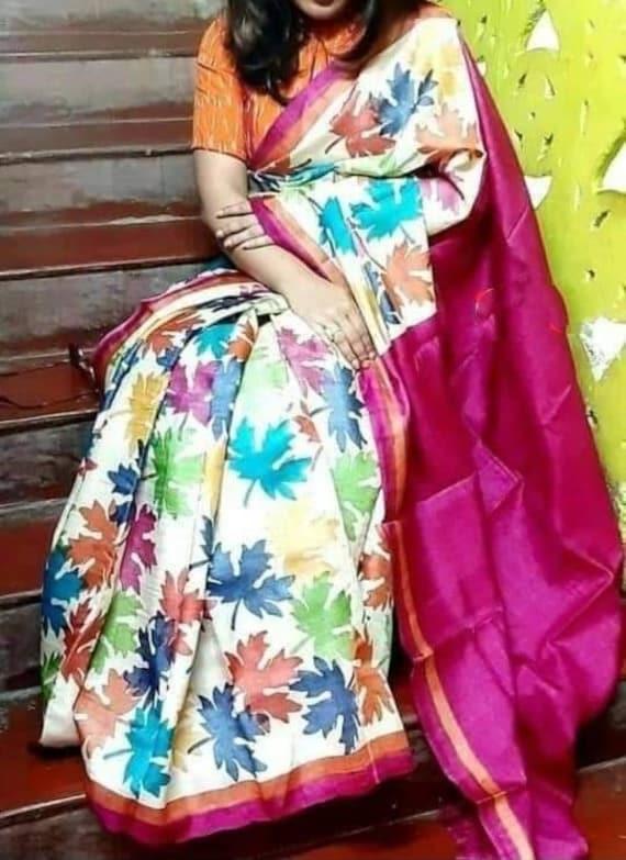Indian Hand Painted Block Artwork On Indian Silk Saree With Blouse Piece Soft Murshidabadi Hand Printed 3ply Silk Murshidabadi Silk