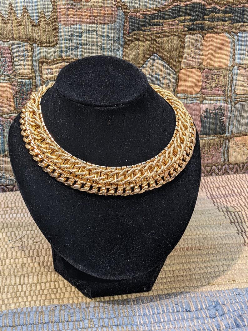 Vintage Julio Mesh Gold Toned Collar Necklace