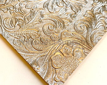Metallic Faux Leather Synthetic Leather Sheets Silver Faux Leather Jewelry Making Bow Making Silver Floral Embossed Faux Leather Sheets