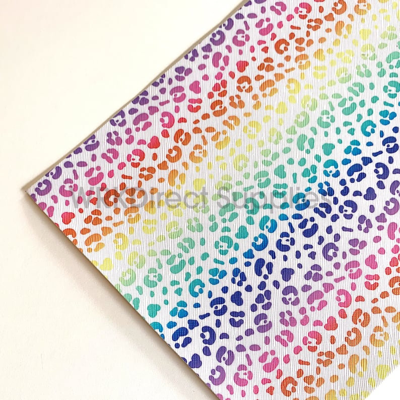 Bow Making Rainbow Faux Leather Leopard Print Printed Synthetic Leather Sheets Jewelry Making Leopard Rainbow Faux Leather Sheets