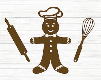 COMMERCIAL USE! Baking Svg, Christmas Baking Svg, Gingerbread Man, Gingerbread Man Svg, Christmas Svg, Svg, Cricut Cut Files