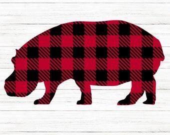 COMMERCIAL USE! Hippo Svg, Buffalo Plaid Hippo, Hippopotamus Svg, Merry Christmas Svg, Christmas Svg, Svg, Plaid Hippo Svg, Cricut Cut Files
