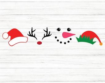 COMMERCIAL USE! Christmas Svg, Reindeer Svg, Rudolph Svg, Santa Hat Svg, Snowman Svg, Elf Hat Svg, Squad Svg, Cricut, SVG, Christmas