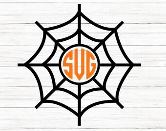 Spiderweb Svg, Halloween Svg, Spiderweb Monogram, Monogram Svg, Cricut, SVG Cut File, DXF Cut File, Clipart, Printable, Silhouette, Cricut
