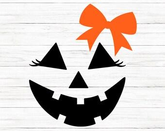 COMMERCIAL USE! Jack-o-lantern Face Girl svg, Halloween svg, Pumpkin SVG, Digital Download, Cricut, Silhouette, Glowforge
