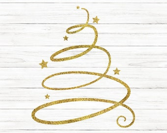 Glitter Christmas Tree Svg, Christmas Svg, Christmas Tree Svg, Gold Tree, Tree, Silhouette Cut File, Cricut Cut Files, Svg File, SVG File