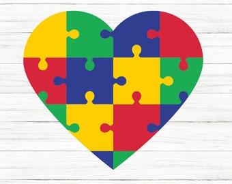 COMMERCIAL USE! Autism Heart Puzzle SVG, Autism svg, Autism clipart, autism Awareness svg, Cricut, svg, Autism svg, Digital Download,