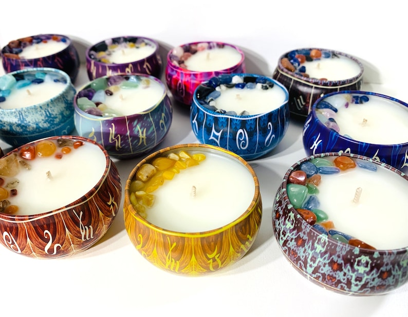 Zodiac Astrology Crystal Candle Tins Spell Wiccan Witchcraft Colorful Candles Spiritual Ritual Intention